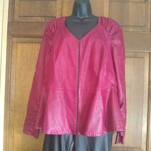 Leather Peplum Jacket by Max Mara